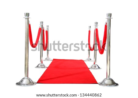 Genuine Hollywood Red Carpet with Red Velvet Ropes and Silver Stanchions, isolated on white with room for your text - stock photo