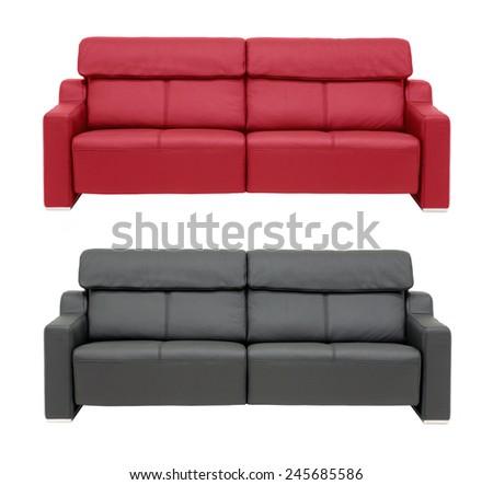 Genuine leather sofas, isolated on white. - stock photo