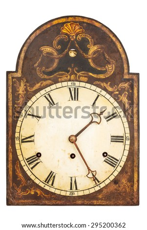 Genuine ornamental seventeenth century clock isolated on a white background