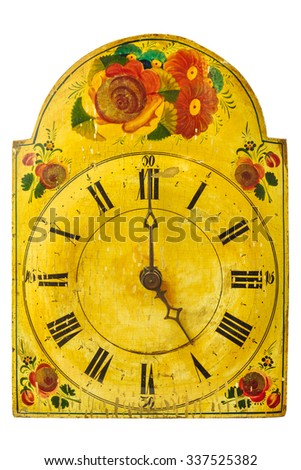 Genuine ornamental seventeenth century clock with flower pattern isolated on a white background