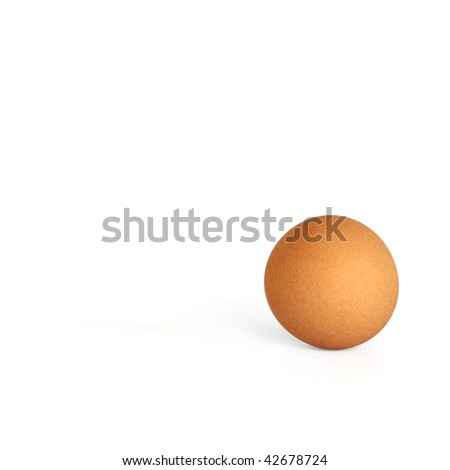 Genuine rare perfectly round egg over white background. - stock photo
