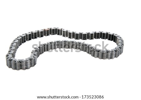 Genuine Used Car Transmission Gears, Chains, Cogs, Teeth, Splines, Worm Gears, Bearings, Nuts and Bolts all made of real Steel. Isolated on white with room for your text. - stock photo