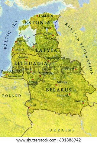 Geographic Map European Country Belarus Lithuania Stock Photo