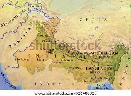 Geographic map india nepal bhutan bangladesh stock photo 100 legal geographic map of india nepal bhutan and bangladesh with important cities gumiabroncs Choice Image