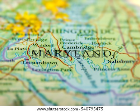 Geographic Map US State Maryland Washington Stock Photo Edit Now