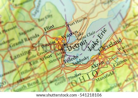 Detroit Map Stock Images RoyaltyFree Images Vectors Shutterstock - Detroit on us map