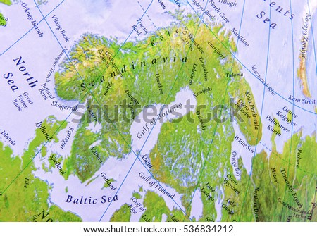 Geographic Map Part Europe Scandinavia Close Stock Photo Download