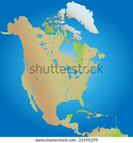 Geographical map of continent of North and Middle America