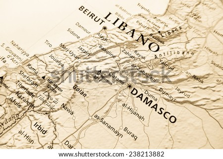 Geographical view of Lebanon - stock photo