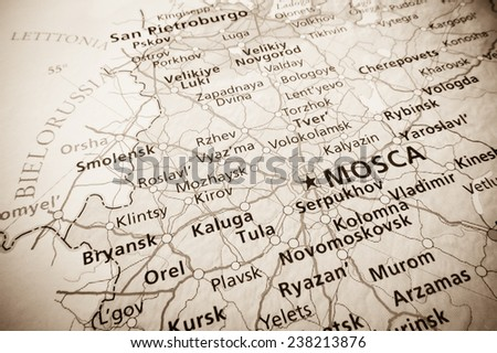 Geographical view of Moscow - stock photo