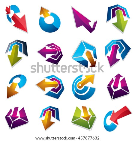 Geometric abstract 3d shapes. Collection of arrows, navigation pictograms and multimedia signs, for use in web and graphic design.