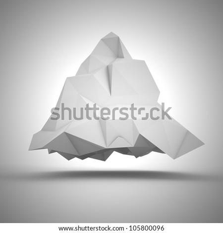 Geometric abstraction - big white crumpled pyramid - stock photo