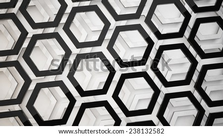 geometric background from hexagon shapes - stock photo