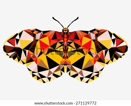 Geometric beautiful butterfly with many triangles  - stock photo