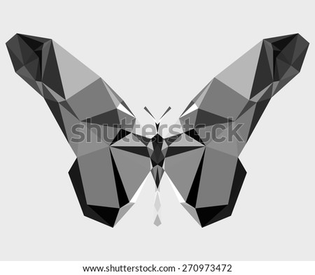 Geometric butterfly with many triangles (gray paper) - stock photo