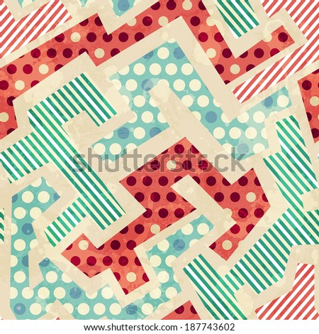geometric cloth seamless pattern with grunge effect (raster version) - stock photo