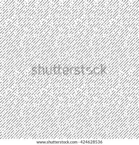 Geometric diagonal seamless pattern. Black and white striped repeatable texture. Similar to retro memphis style, fashion 1980s - 1990s. - stock photo