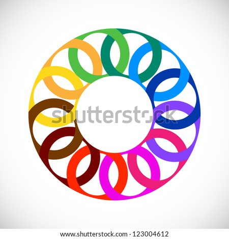 Geometric entwined wheels in color rainbow. Business abstract icon. - stock photo