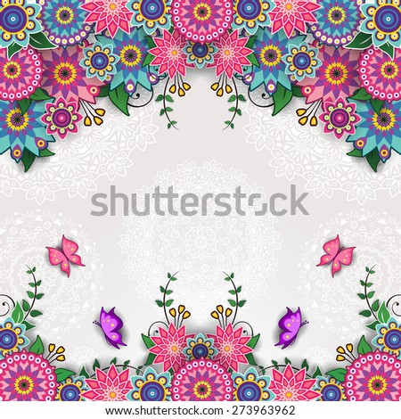 Geometric floral background with butterflies - stock photo