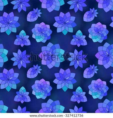 Geometric floral seamless pattern with cute flowers and berries - stock photo