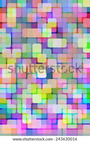 Geometric multicolored abstract mosaic of rounded squares, some brighter than others, overlapping for illusion of three dimensions, like so many city lights on a complex grid - stock photo