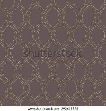 Geometric ornament. Seamless  background. Abstract texture for wallpapers. Repeating geometric elements. Golden vertical dotted waves - stock photo