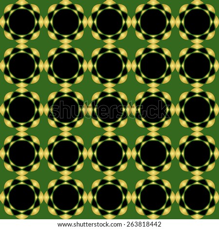 geometric pattern in green black and golden colors - seamless - stock photo