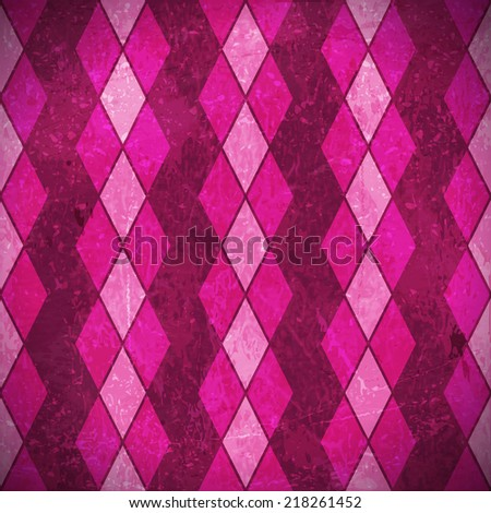 Geometric pattern made of rhombuses in various bright pink, purple, magenta colors overlaid with grunge elements and scratches to give it an aged and distressed feeling. - stock photo