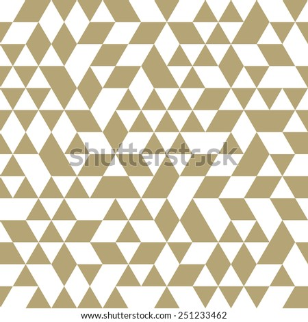 Geometric  pattern with triangular white and golden elements. Seamless abstract ornament for wallpapers and backgrounds - stock photo