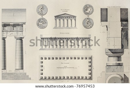 Geometric plan of Temple of Segesta, western Sicily. By Renard and Berthault, published on Voyage Pittoresque de Naples et de Sicilie, by J. C. R. de Saint Non, Impr. de Clousier, Paris, 1786 - stock photo
