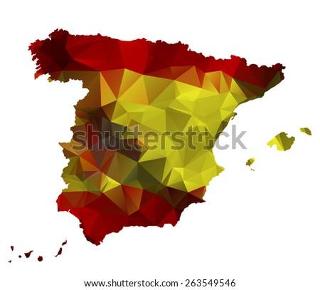 Geometric polygonal design map of Spain. Raster version. - stock photo