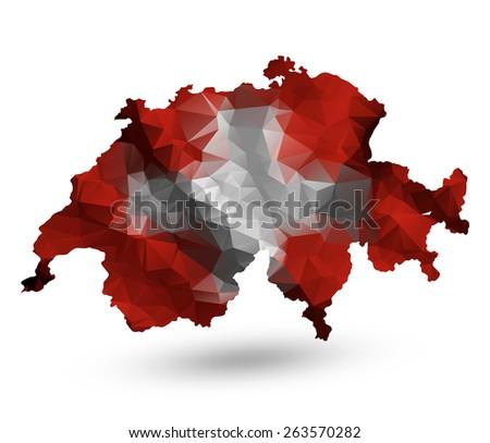 Geometric polygonal design map of Switzerland. Raster version. - stock photo