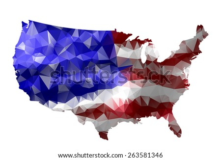 Geometric polygonal style map of the USA.USA flag overlay on USA map with geometric polygonal design.Raster version. - stock photo