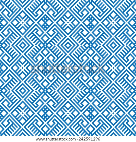 geometric seamless ethnic pattern background in blue and white colors, raster version