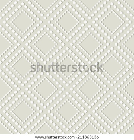 Geometric Seamless Pattern. Dotted Rhombus Structure with Shadow on White.  Seamless Background - stock photo