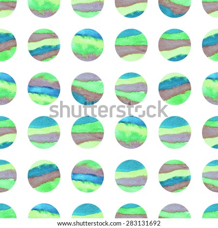 Geometric seamless patterns dots. Colorful watercolor texture. Green, dark blue, indigo, violet, cyan colors. Web and mobile interface, website template - stock photo