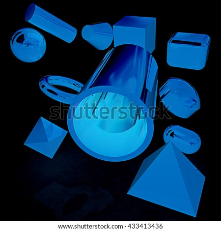 Geometric shapes on a black background. 3D illustration. Anaglyph. View with red/cyan glasses to see in 3D. - stock photo