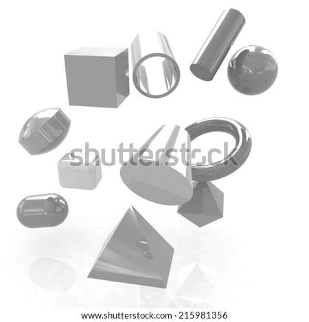 Geometric shapes on a white background - stock photo