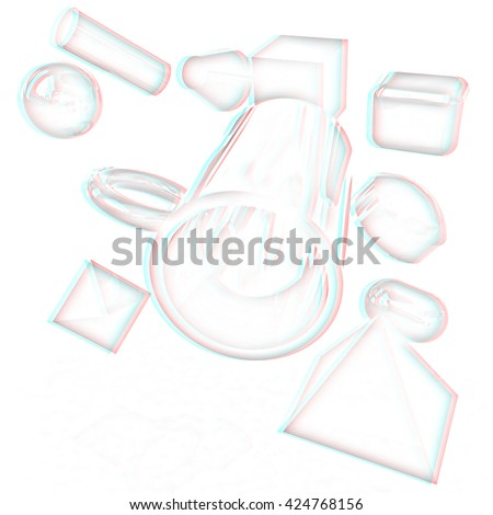 Geometric shapes on a white background. Pencil drawing. 3D illustration. Anaglyph. View with red/cyan glasses to see in 3D. - stock photo