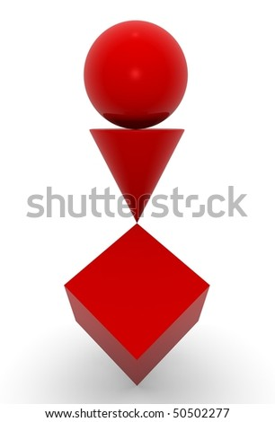 geometric solid red in balance - stock photo