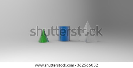 geometric solid structure rendering in a gray background, computer generated images