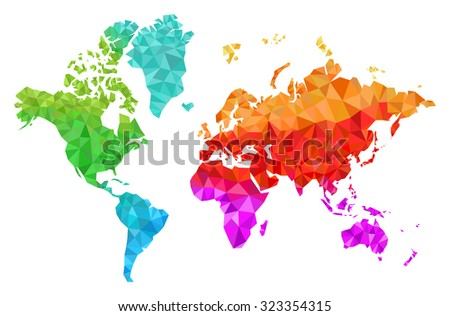 Geometric world map continents made triangles ilustracin de geometric world map with the continents made of triangles in many colors gumiabroncs Choice Image