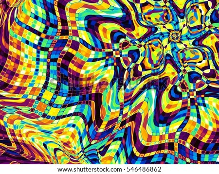 Geometrical abstract pattern. Colorful psychedelic art background
