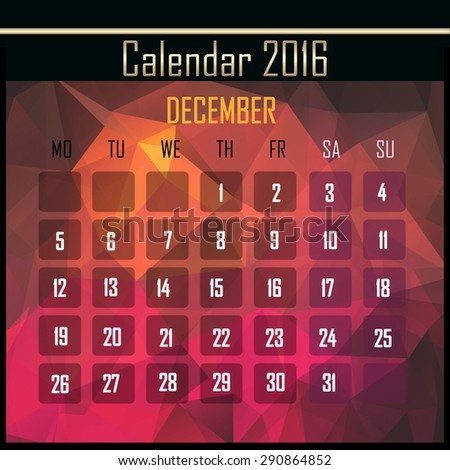 Geometrical polygonal triangles 2016 calendar design for december month - stock photo