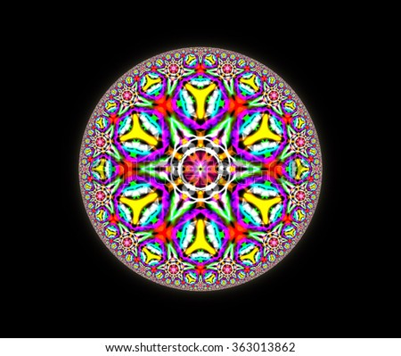 Geometrical round mandala, floral and triangle ornament pattern. Illustration background.