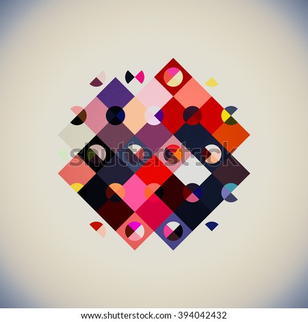 geometry abstract design, geometry shapes - triangle rectangle and circles in one composition, abstract geometry composition modern art,  - stock photo