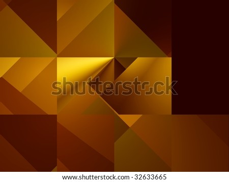 Geometry. Bright yellow and dark-red squares and triangles in suprematism style, computer-generated image - stock photo