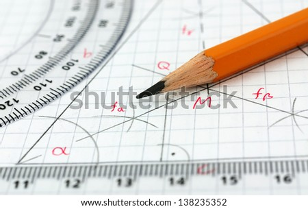 Geometry drawing detail - stock photo