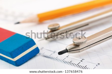 Geometry equipment close up - stock photo