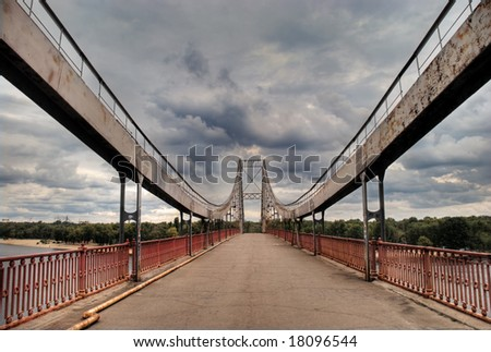 Geometry lines in urban view of bridge